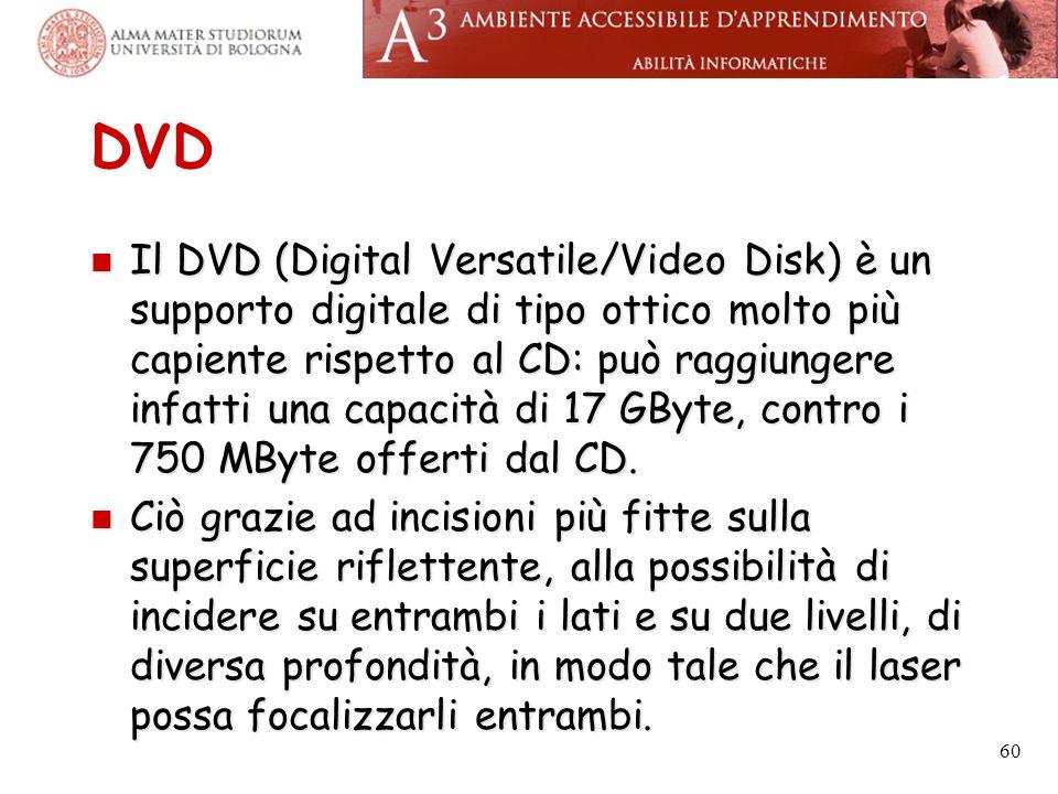 DVD Il DVD (Digital Versatile/Video Disk) è un supporto digitale di tipo ottico molto più capiente rispetto al CD: può raggiungere infatti una capacit