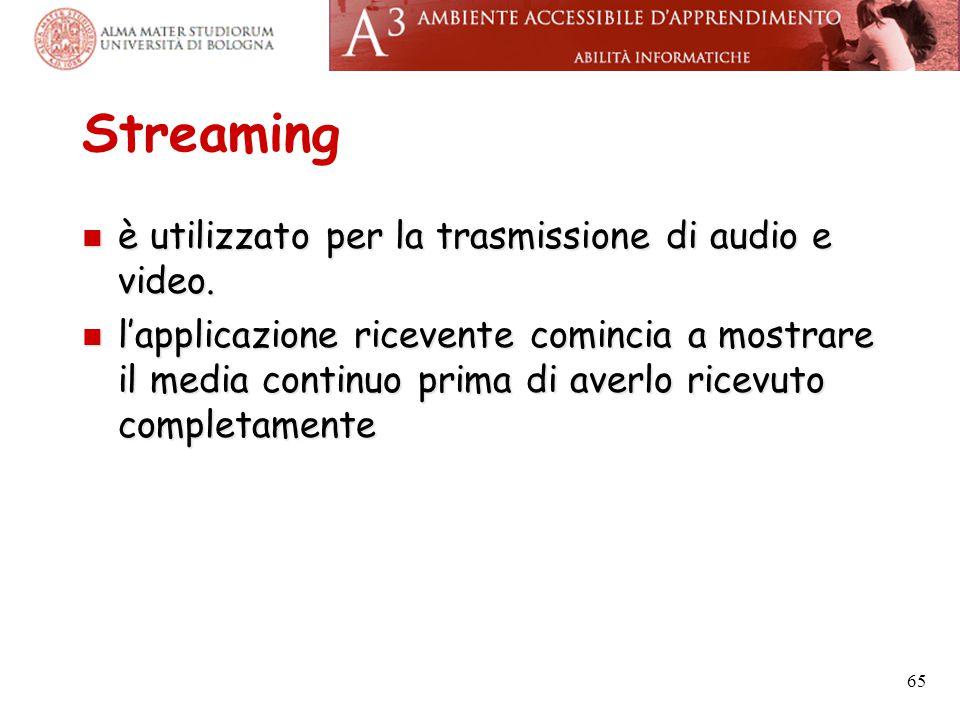 Streaming è utilizzato per la trasmissione di audio e video. è utilizzato per la trasmissione di audio e video. l'applicazione ricevente comincia a mo
