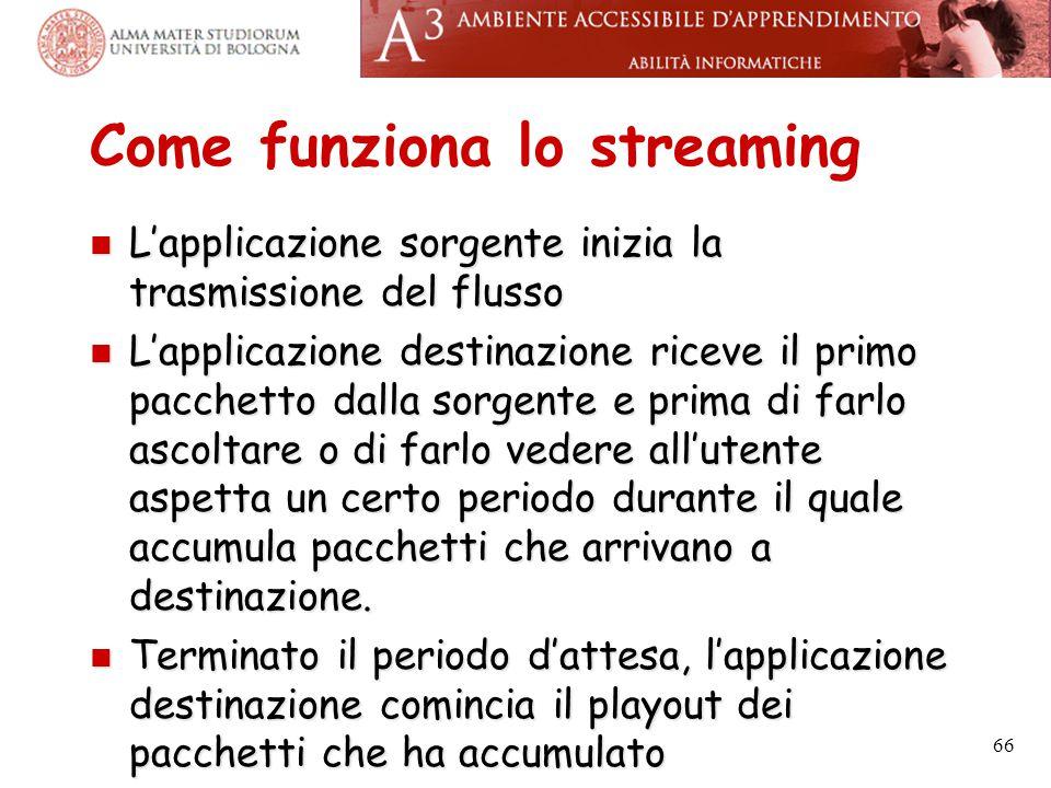 Come funziona lo streaming L'applicazione sorgente inizia la trasmissione del flusso L'applicazione sorgente inizia la trasmissione del flusso L'appli