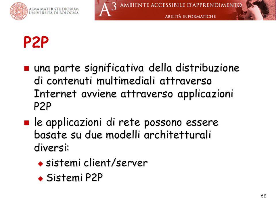 P2P una parte significativa della distribuzione di contenuti multimediali attraverso Internet avviene attraverso applicazioni P2P una parte significat