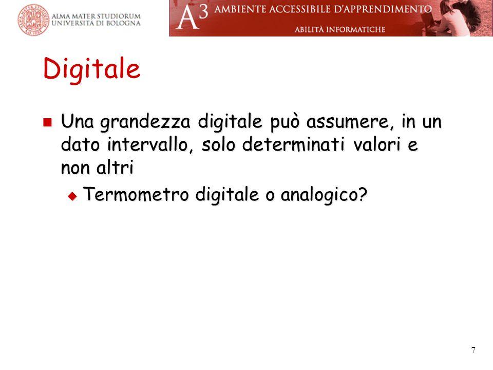 Digitale Una grandezza digitale può assumere, in un dato intervallo, solo determinati valori e non altri Una grandezza digitale può assumere, in un da