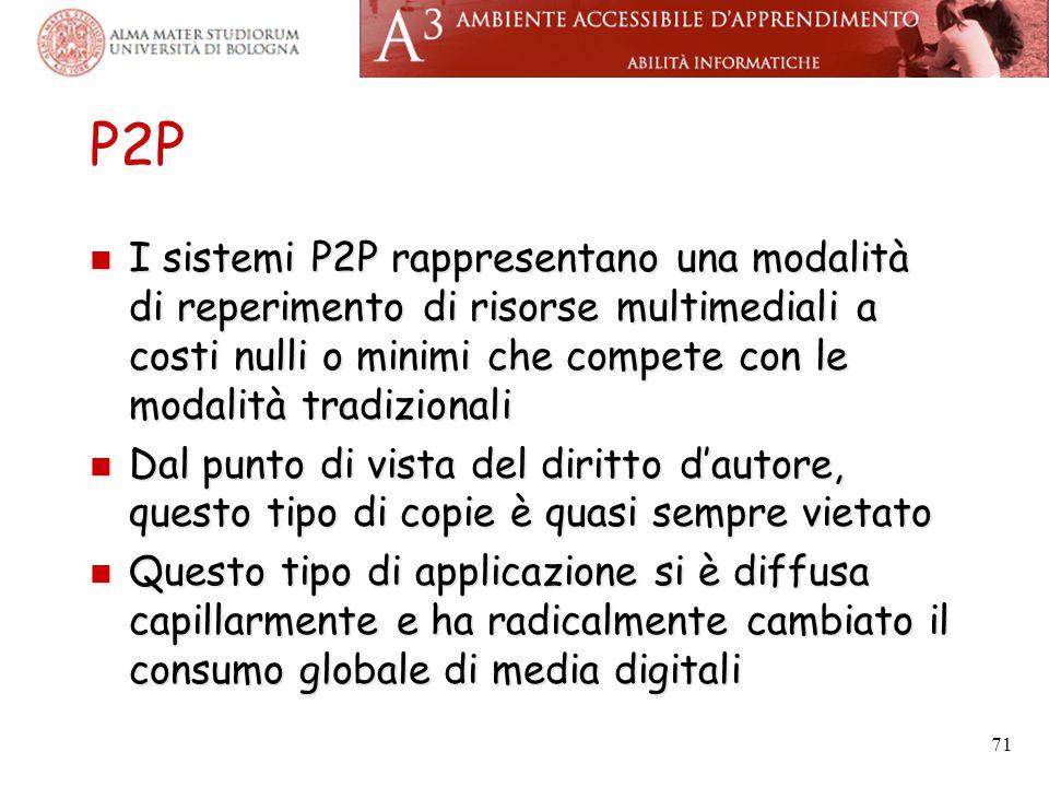 P2P I sistemi P2P rappresentano una modalità di reperimento di risorse multimediali a costi nulli o minimi che compete con le modalità tradizionali I
