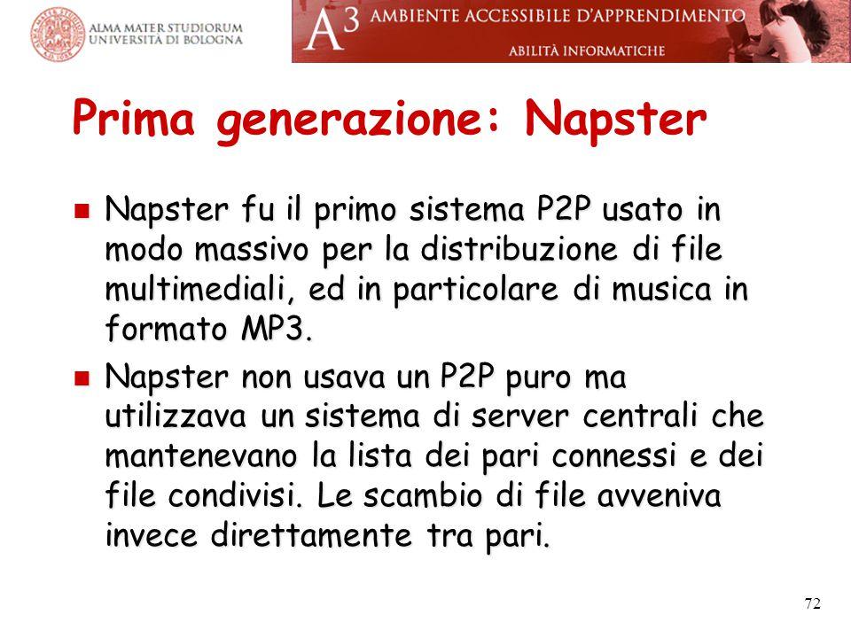 Prima generazione: Napster Napster fu il primo sistema P2P usato in modo massivo per la distribuzione di file multimediali, ed in particolare di music