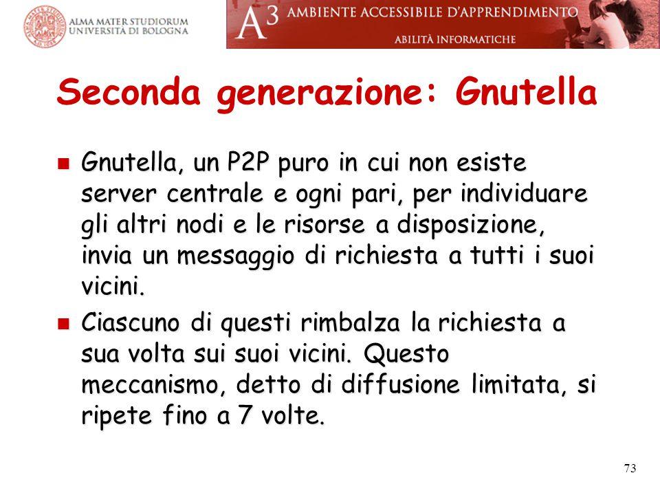Seconda generazione: Gnutella Gnutella, un P2P puro in cui non esiste server centrale e ogni pari, per individuare gli altri nodi e le risorse a dispo