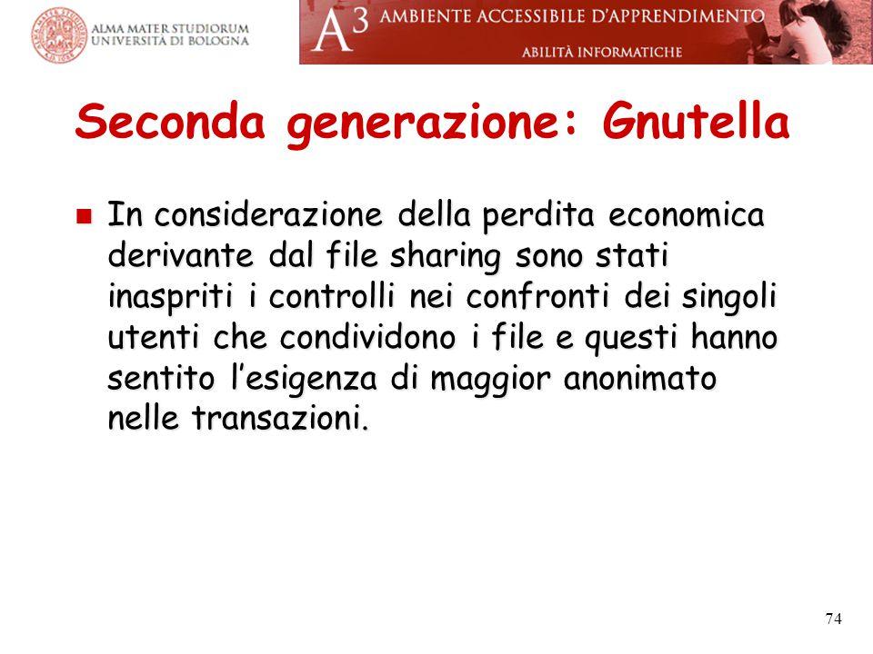 Seconda generazione: Gnutella In considerazione della perdita economica derivante dal file sharing sono stati inaspriti i controlli nei confronti dei