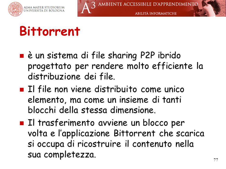 Bittorrent è un sistema di file sharing P2P ibrido progettato per rendere molto efficiente la distribuzione dei file. è un sistema di file sharing P2P