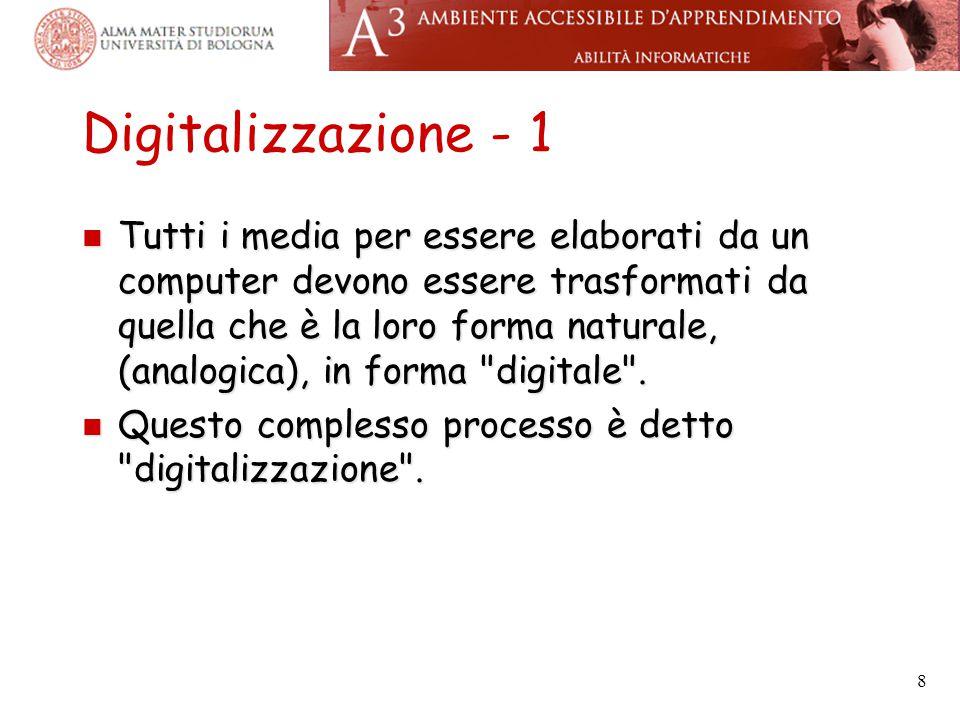 Digitalizzazione - 1 Tutti i media per essere elaborati da un computer devono essere trasformati da quella che è la loro forma naturale, (analogica),