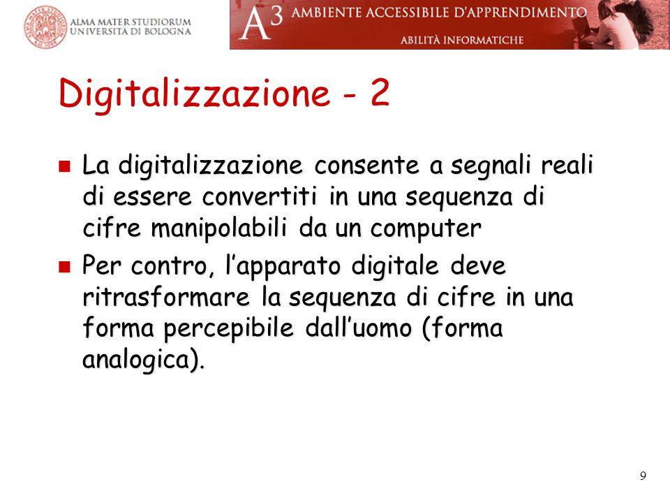 Digitalizzazione - 2 La digitalizzazione consente a segnali reali di essere convertiti in una sequenza di cifre manipolabili da un computer La digital