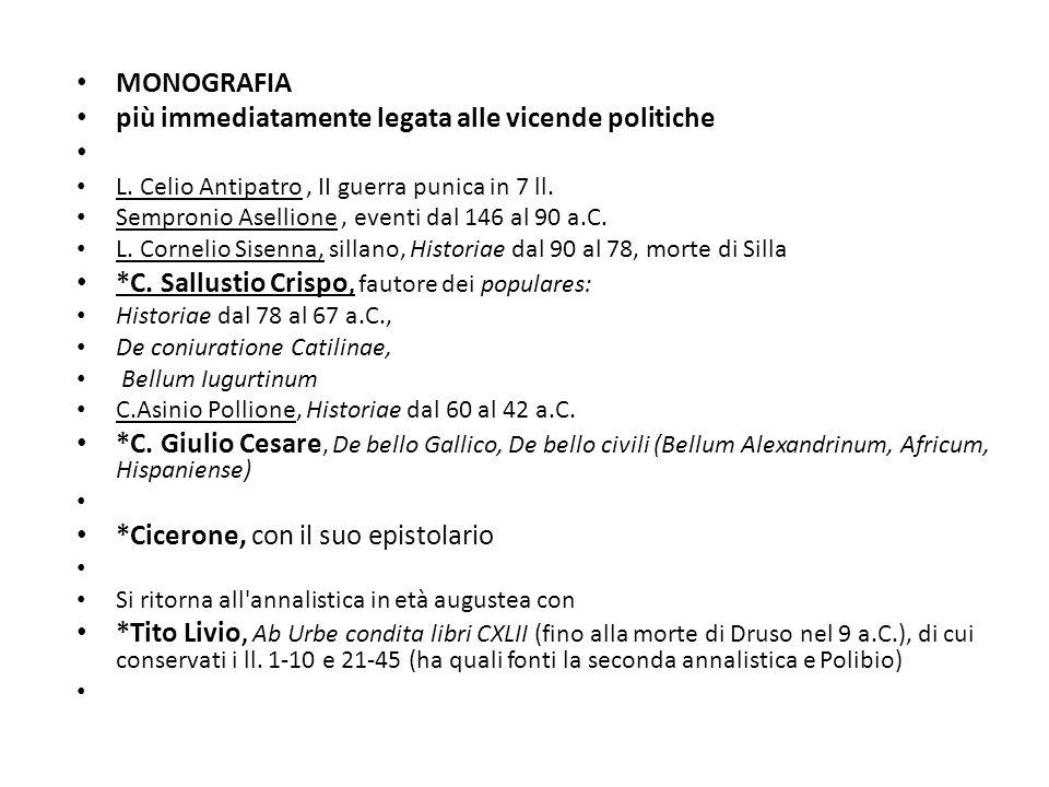 La BIOGRAFIA, genere tra il letterario e lo storico Precedenti: vita di Tiberio ad opera del fratello Caio Gracco ; autobiografia di Silla M.