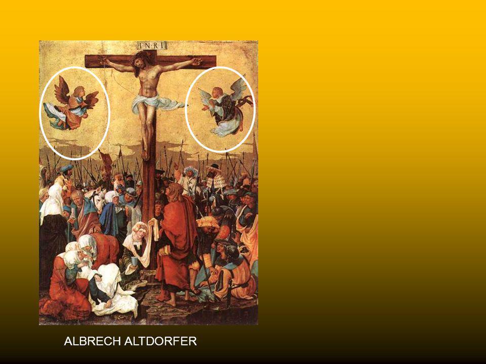 BRAMANTINO 1520 Tra gli elementi iconografici più ricorrenti vi sono, in alto della croce, angeli (e talora persino demoni) in atto di prostrazione at