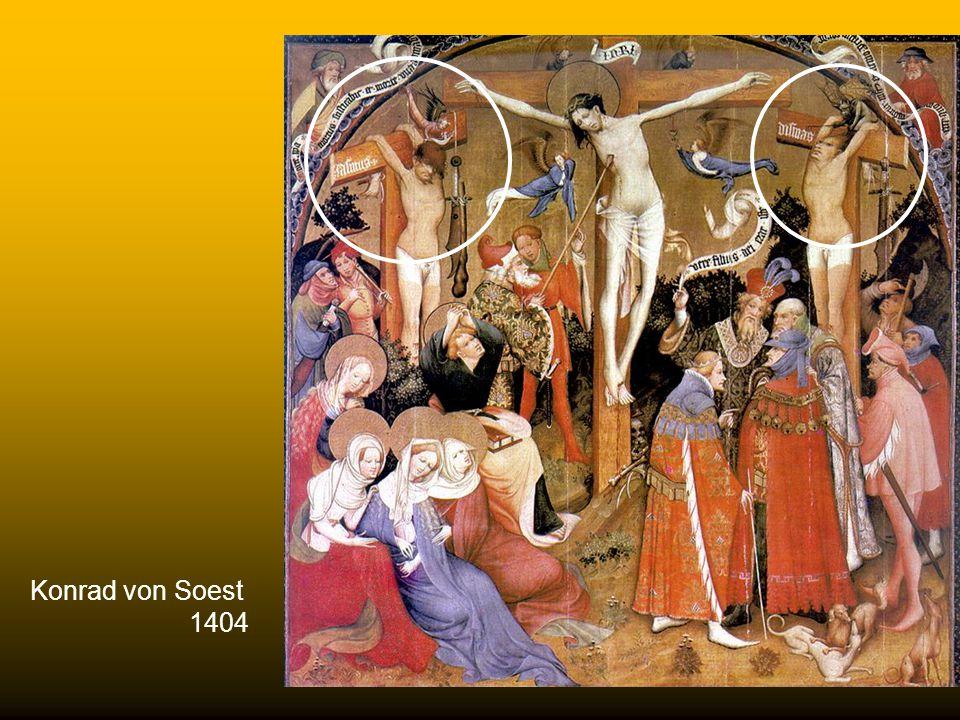 Agnolo Gaddi 1393-1396 Galleria degli Uffici, Firenze Gli artisti tendono a porre il ladrone pentito a destra, mentre quello impenitente risulta a sin