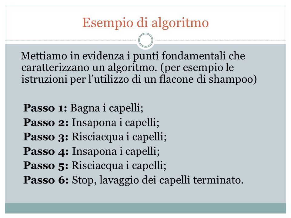 Esempio di algoritmo Mettiamo in evidenza i punti fondamentali che caratterizzano un algoritmo. (per esempio le istruzioni per l'utilizzo di un flacon