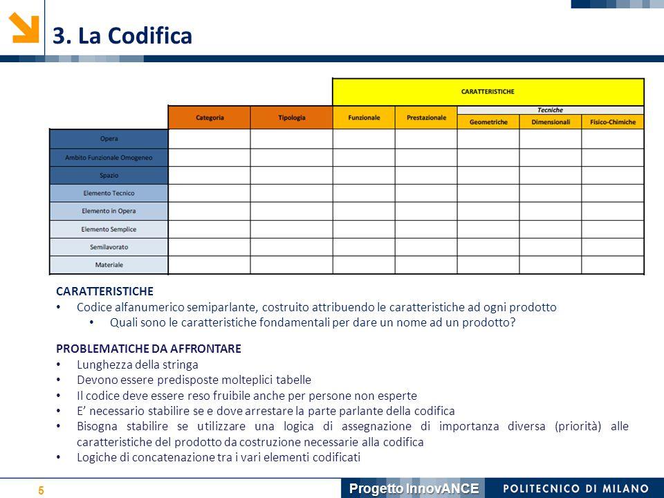 5 3. La Codifica CARATTERISTICHE Codice alfanumerico semiparlante, costruito attribuendo le caratteristiche ad ogni prodotto Quali sono le caratterist