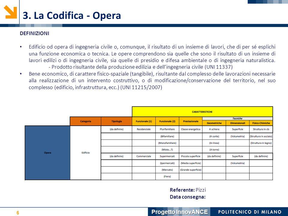 6 3. La Codifica - Opera Referente: Pizzi Data consegna: DEFINIZIONI Edificio od opera di ingegneria civile o, comunque, il risultato di un insieme di