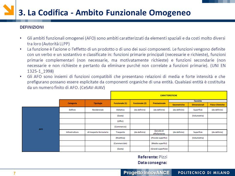 7 3. La Codifica - Ambito Funzionale Omogeneo Referente: Pizzi Data consegna: DEFINIZIONI Gli ambiti funzionali omogenei (AFO) sono ambiti caratterizz