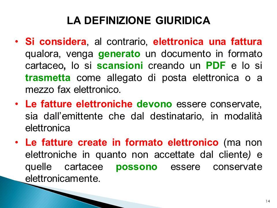14 LA DEFINIZIONE GIURIDICA Si considera, al contrario, elettronica una fattura qualora, venga generato un documento in formato cartaceo, lo si scansi