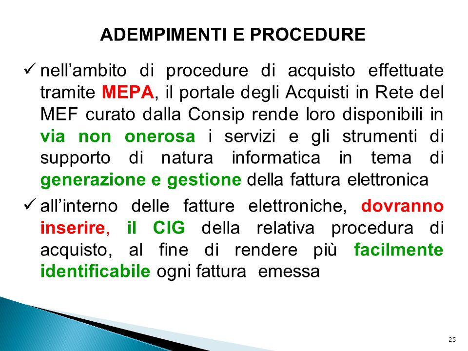 25 ADEMPIMENTI E PROCEDURE nell'ambito di procedure di acquisto effettuate tramite MEPA, il portale degli Acquisti in Rete del MEF curato dalla Consip