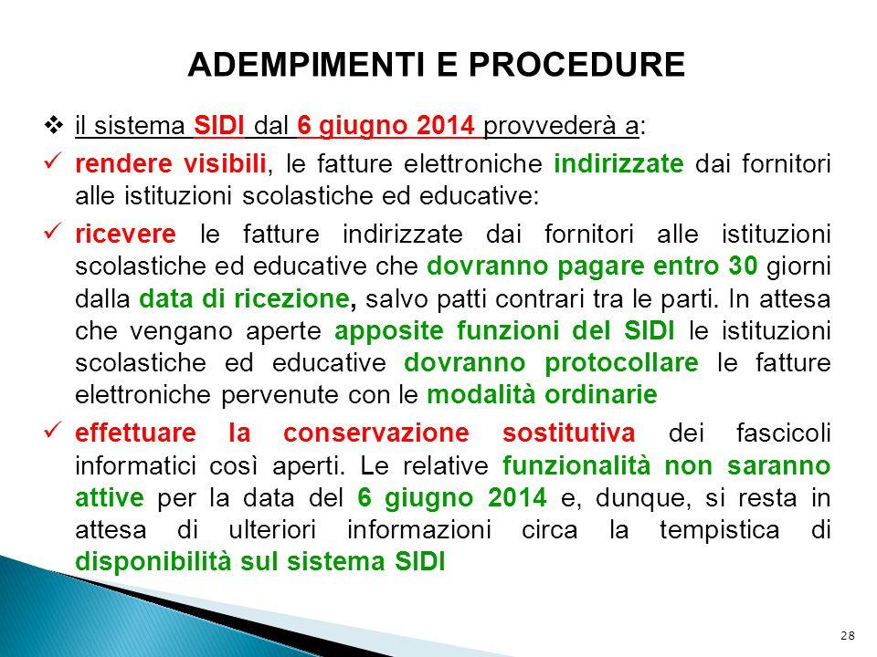 28 ADEMPIMENTI E PROCEDURE  il sistema SIDI dal 6 giugno 2014 provvederà a: rendere visibili, le fatture elettroniche indirizzate dai fornitori alle