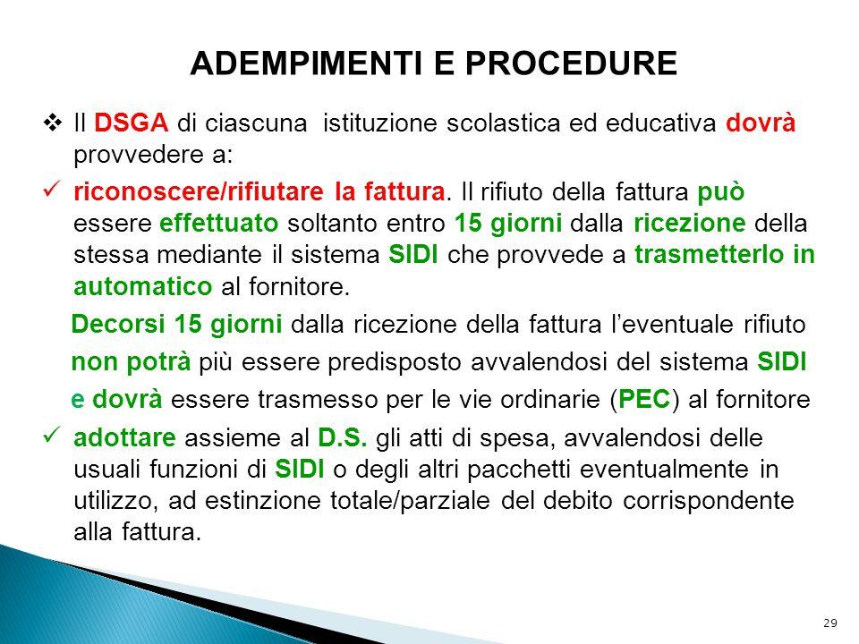 29 ADEMPIMENTI E PROCEDURE  Il DSGA di ciascuna istituzione scolastica ed educativa dovrà provvedere a: riconoscere/rifiutare la fattura. Il rifiuto