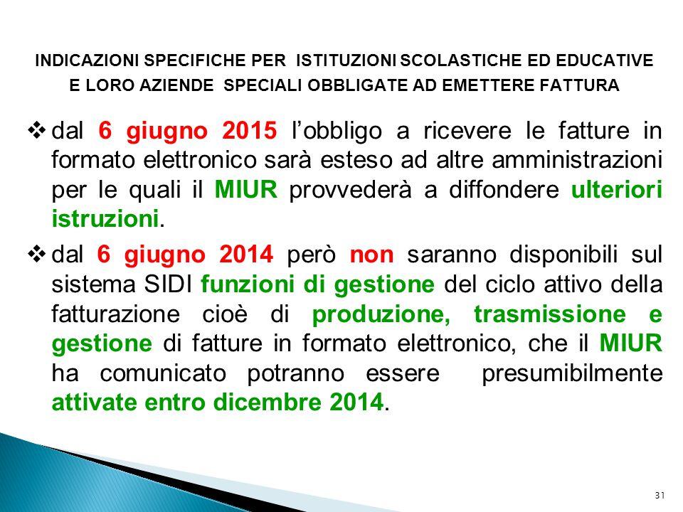 31 INDICAZIONI SPECIFICHE PER ISTITUZIONI SCOLASTICHE ED EDUCATIVE E LORO AZIENDE SPECIALI OBBLIGATE AD EMETTERE FATTURA  dal 6 giugno 2015 l'obbligo