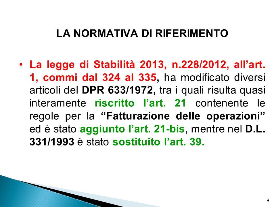 4 LA NORMATIVA DI RIFERIMENTO La legge di Stabilità 2013, n.228/2012, all'art. 1, commi dal 324 al 335, ha modificato diversi articoli del DPR 633/197
