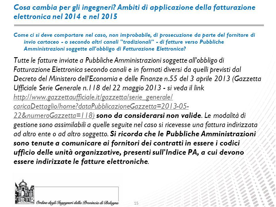 15 Cosa cambia per gli ingegneri? Ambiti di applicazione della fatturazione elettronica nel 2014 e nel 2015 Tutte le fatture inviate a Pubbliche Ammin