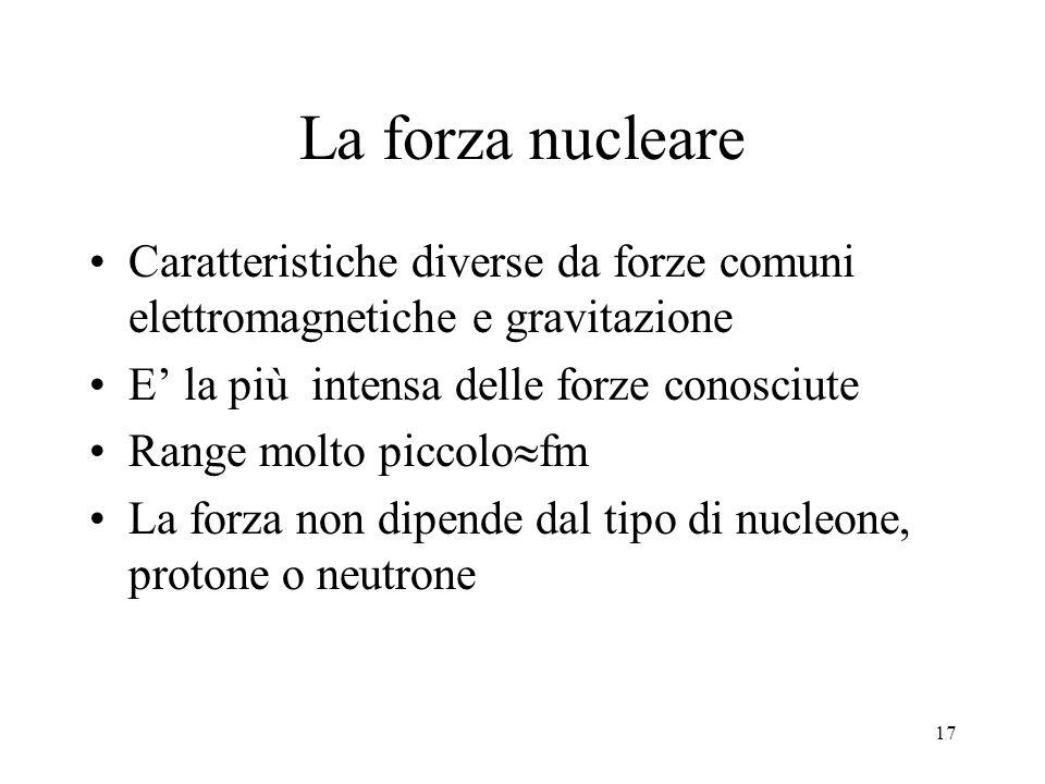 17 La forza nucleare Caratteristiche diverse da forze comuni elettromagnetiche e gravitazione E' la più intensa delle forze conosciute Range molto piccolo  fm La forza non dipende dal tipo di nucleone, protone o neutrone