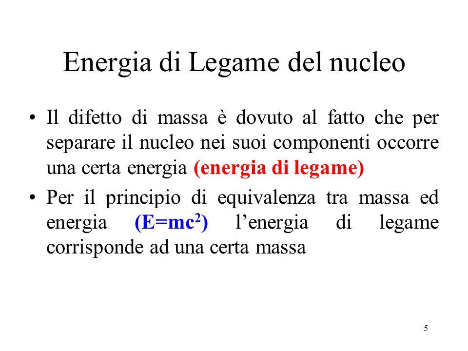 5 Energia di Legame del nucleo Il difetto di massa è dovuto al fatto che per separare il nucleo nei suoi componenti occorre una certa energia (energia di legame) Per il principio di equivalenza tra massa ed energia (E=mc 2 ) l'energia di legame corrisponde ad una certa massa