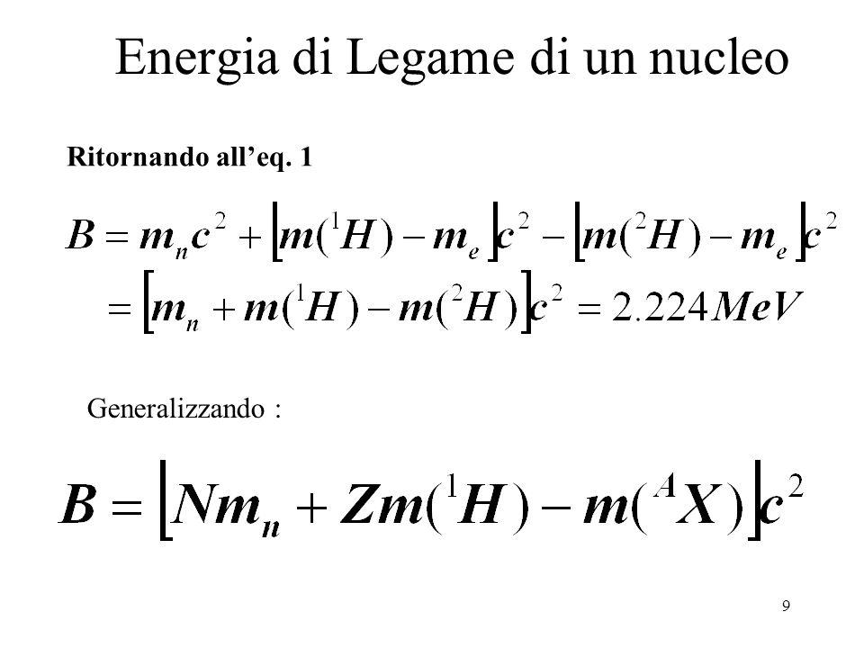 9 Energia di Legame di un nucleo Ritornando all'eq. 1 Generalizzando :