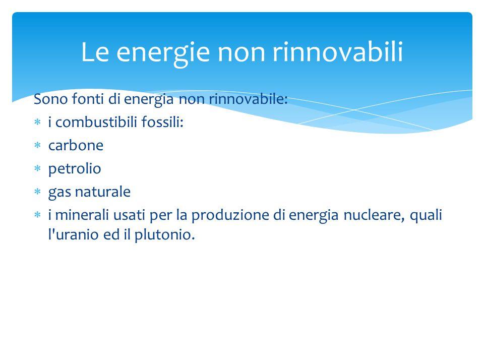 Sono fonti di energia non rinnovabile:  i combustibili fossili:  carbone  petrolio  gas naturale  i minerali usati per la produzione di energia nucleare, quali l uranio ed il plutonio.