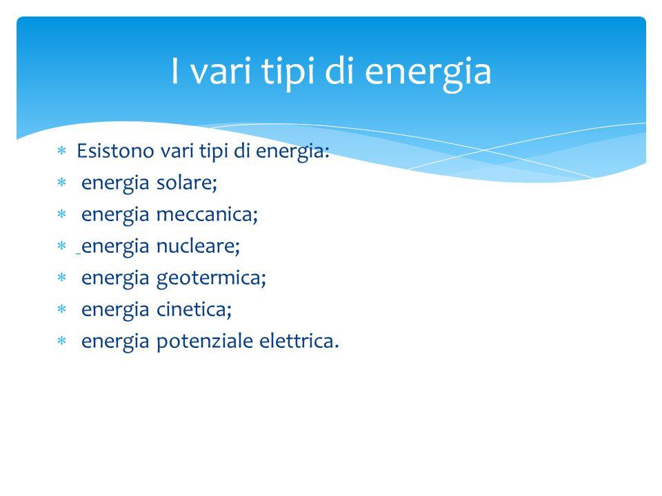  Esistono vari tipi di energia:  energia solare;  energia meccanica;  energia nucleare;  energia geotermica;  energia cinetica;  energia potenziale elettrica.