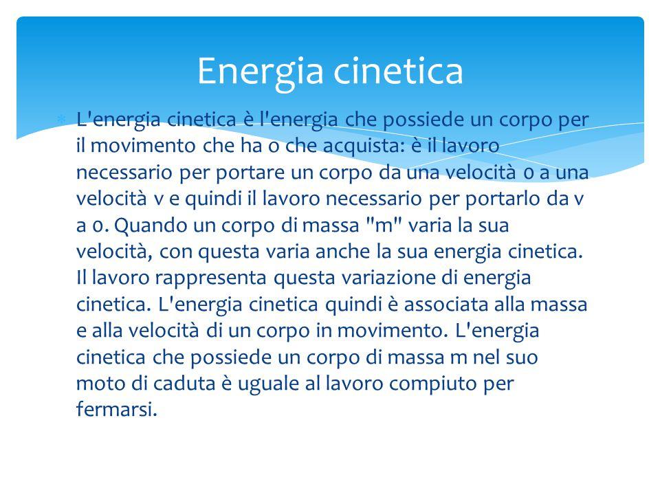  L'energia cinetica è l'energia che possiede un corpo per il movimento che ha o che acquista: è il lavoro necessario per portare un corpo da una velo