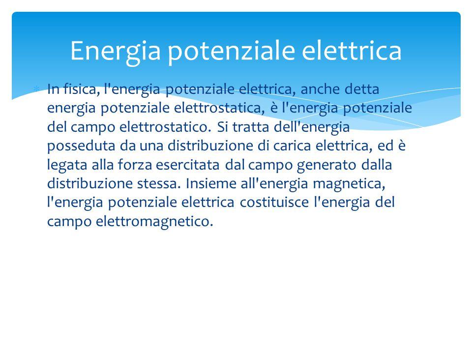  In fisica, l energia potenziale elettrica, anche detta energia potenziale elettrostatica, è l energia potenziale del campo elettrostatico.