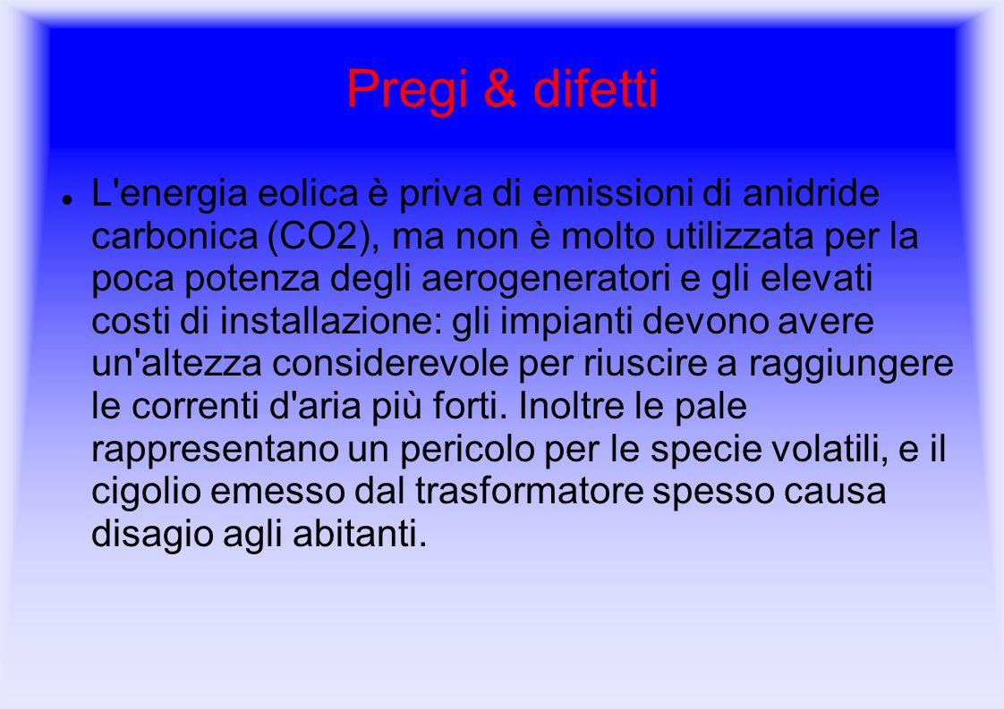 Pregi & difetti L'energia eolica è priva di emissioni di anidride carbonica (CO2), ma non è molto utilizzata per la poca potenza degli aerogeneratori