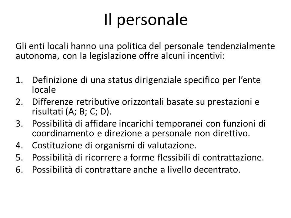 Il personale Gli enti locali hanno una politica del personale tendenzialmente autonoma, con la legislazione offre alcuni incentivi: 1.Definizione di una status dirigenziale specifico per l'ente locale 2.Differenze retributive orizzontali basate su prestazioni e risultati (A; B; C; D).