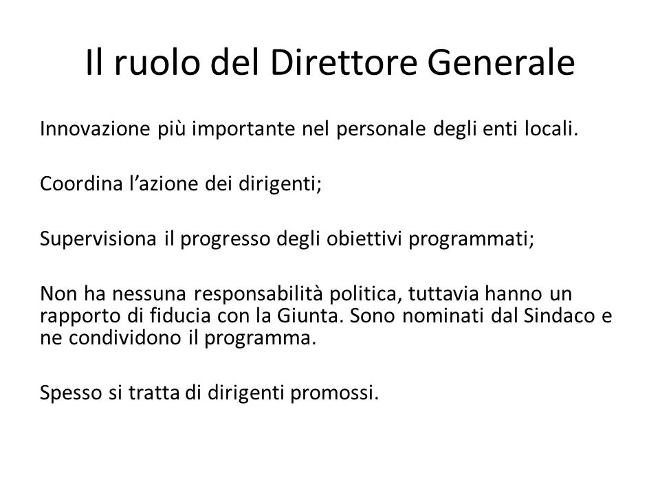 Il ruolo del Direttore Generale Innovazione più importante nel personale degli enti locali.