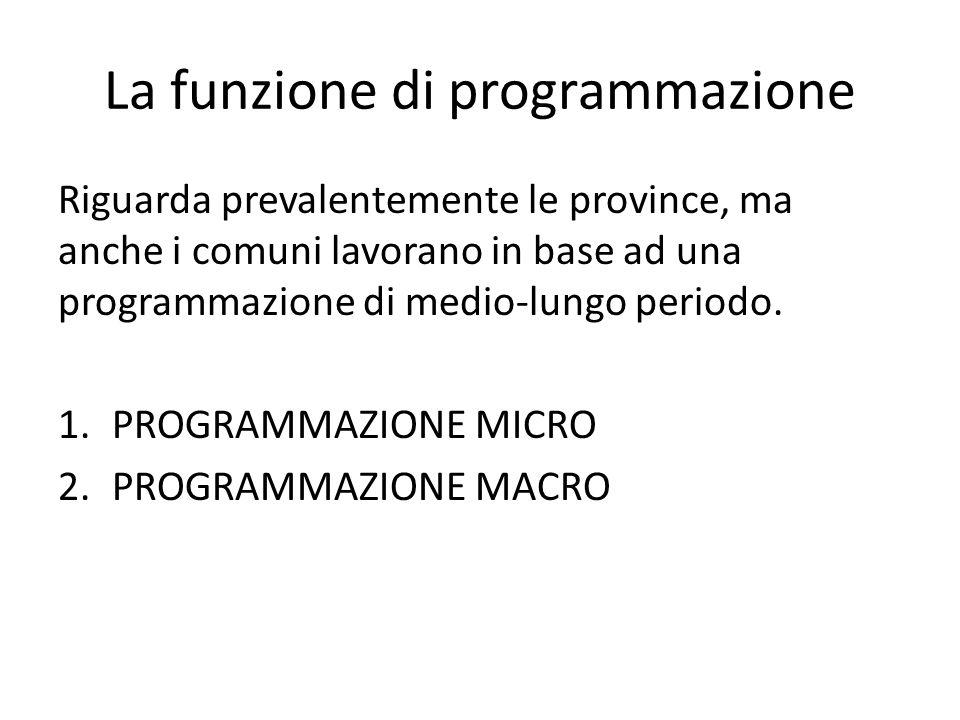 La funzione di programmazione Riguarda prevalentemente le province, ma anche i comuni lavorano in base ad una programmazione di medio-lungo periodo.