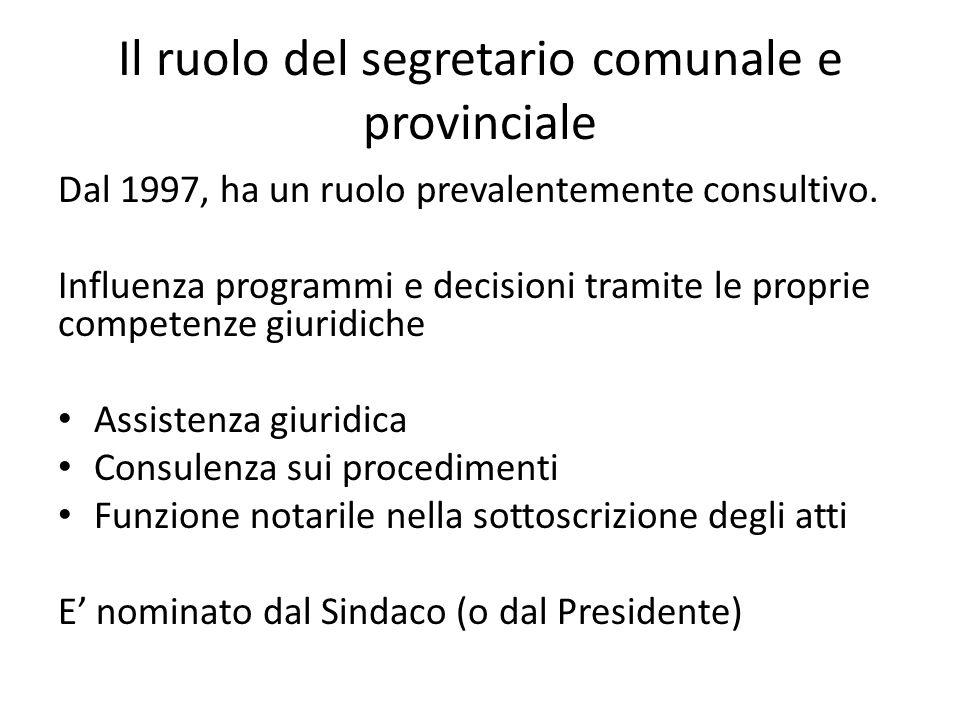 Il ruolo del segretario comunale e provinciale Dal 1997, ha un ruolo prevalentemente consultivo. Influenza programmi e decisioni tramite le proprie co
