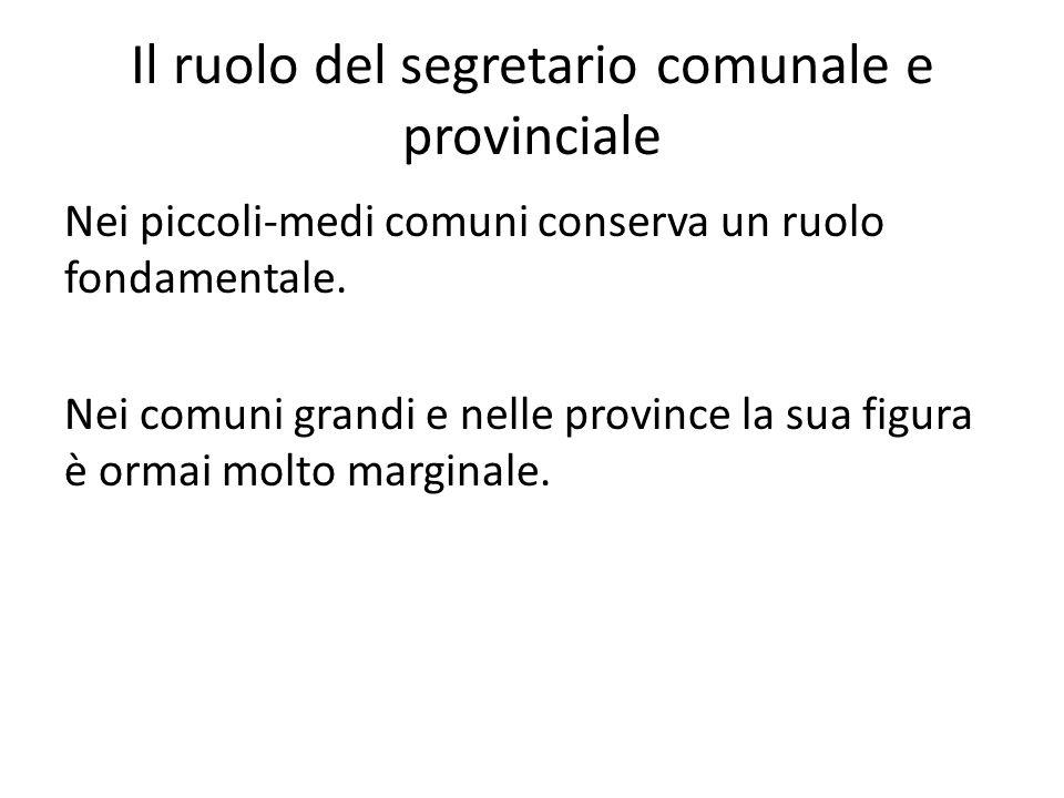 Il ruolo del segretario comunale e provinciale Nei piccoli-medi comuni conserva un ruolo fondamentale. Nei comuni grandi e nelle province la sua figur