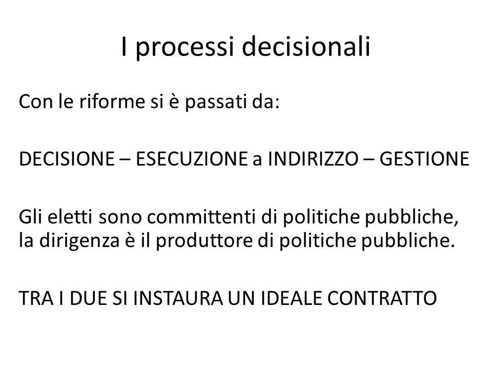 I processi decisionali Con le riforme si è passati da: DECISIONE – ESECUZIONE a INDIRIZZO – GESTIONE Gli eletti sono committenti di politiche pubbliche, la dirigenza è il produttore di politiche pubbliche.