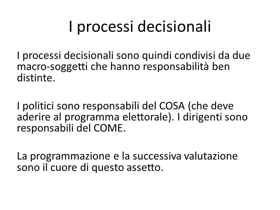I processi decisionali I processi decisionali sono quindi condivisi da due macro-soggetti che hanno responsabilità ben distinte. I politici sono respo