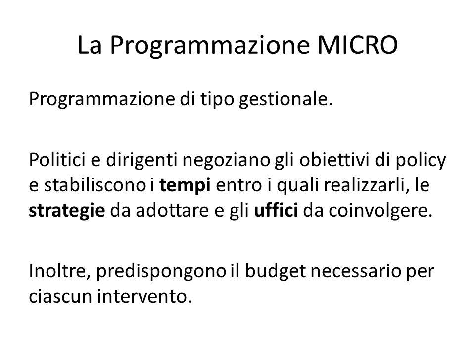 La Programmazione MICRO Programmazione di tipo gestionale. Politici e dirigenti negoziano gli obiettivi di policy e stabiliscono i tempi entro i quali