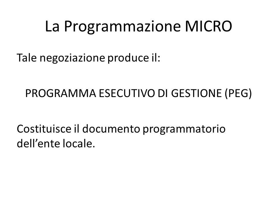 La Programmazione MICRO Tale negoziazione produce il: PROGRAMMA ESECUTIVO DI GESTIONE (PEG) Costituisce il documento programmatorio dell'ente locale.