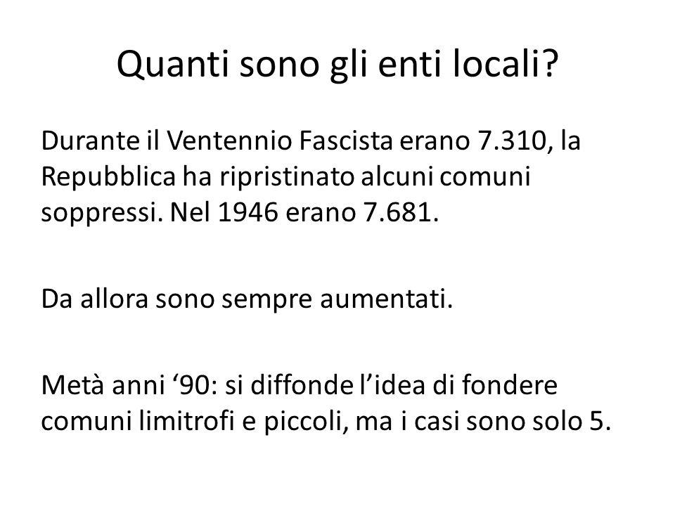 Quanti sono gli enti locali? Durante il Ventennio Fascista erano 7.310, la Repubblica ha ripristinato alcuni comuni soppressi. Nel 1946 erano 7.681. D