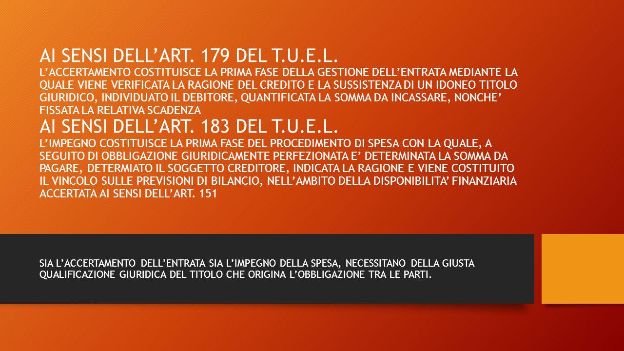 AI SENSI DELL'ART.179 DEL T.U.E.L.