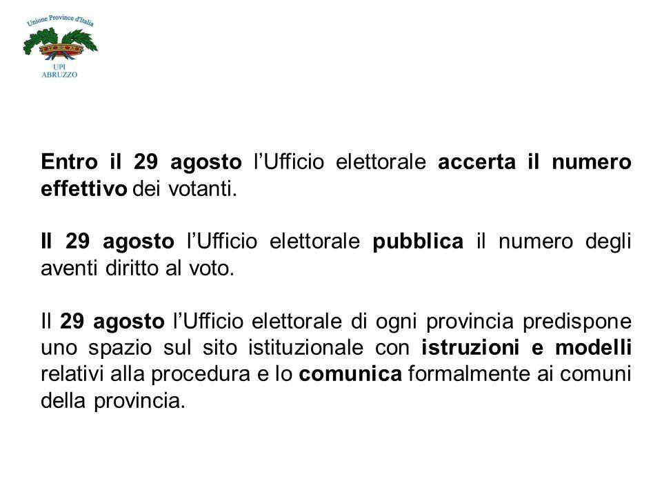 Entro il 29 agosto l'Ufficio elettorale accerta il numero effettivo dei votanti.