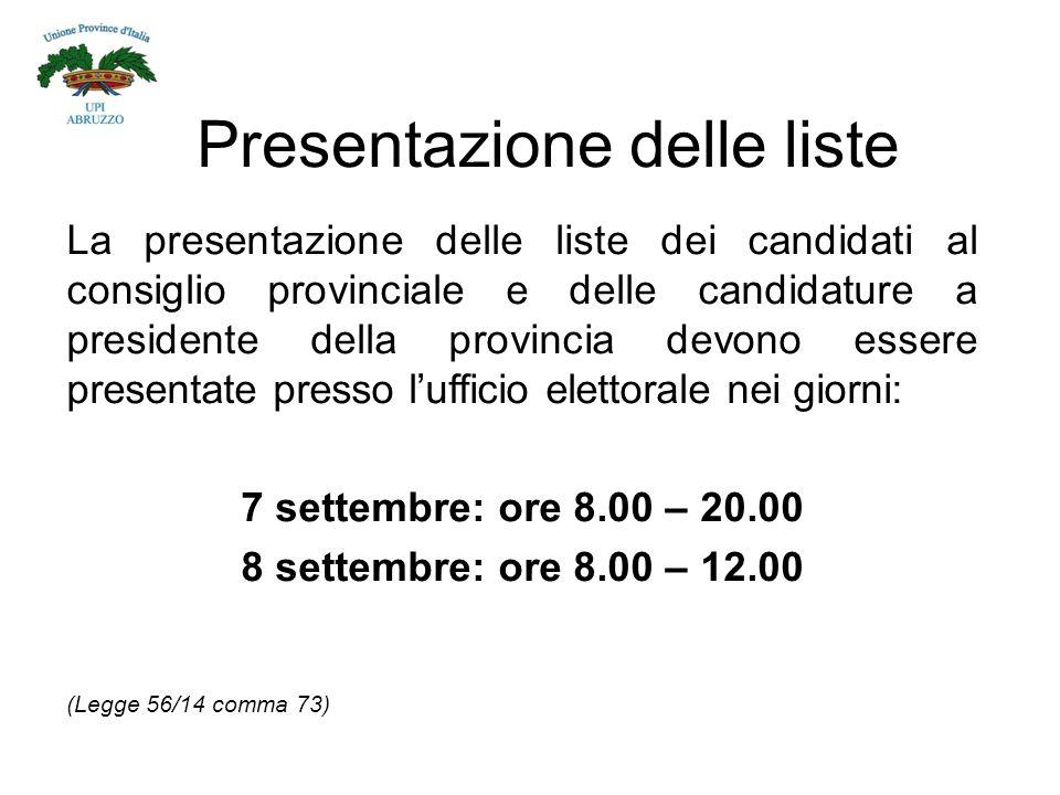 Presentazione delle liste La presentazione delle liste dei candidati al consiglio provinciale e delle candidature a presidente della provincia devono essere presentate presso l'ufficio elettorale nei giorni: 7 settembre: ore 8.00 – 20.00 8 settembre: ore 8.00 – 12.00 (Legge 56/14 comma 73)