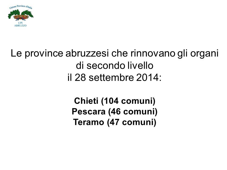 Le province abruzzesi che rinnovano gli organi di secondo livello il 28 settembre 2014: Chieti (104 comuni) Pescara (46 comuni) Teramo (47 comuni)