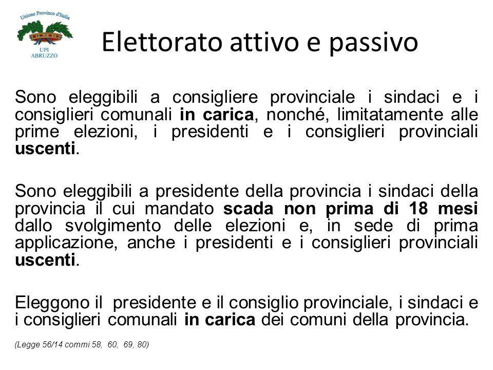 Elettorato attivo e passivo Sono eleggibili a consigliere provinciale i sindaci e i consiglieri comunali in carica, nonché, limitatamente alle prime elezioni, i presidenti e i consiglieri provinciali uscenti.