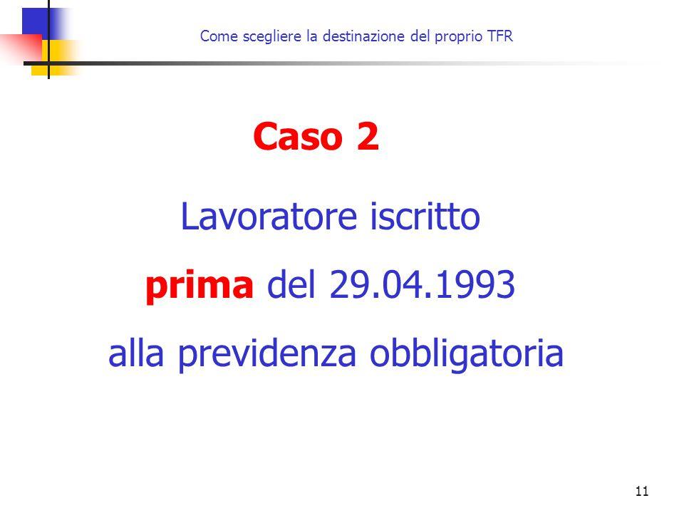 11 Come scegliere la destinazione del proprio TFR Caso 2 Lavoratore iscritto prima del 29.04.1993 alla previdenza obbligatoria